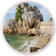 Port Blanc Pevenan Brittany France Round Beach Towel