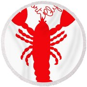 Port Clyde Maine Lobster With Feelers 201300605 Round Beach Towel
