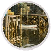 Port Clyde Maine Small Boat And Harbor Round Beach Towel