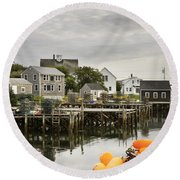 Port Clyde On The Coast Of Maine Round Beach Towel