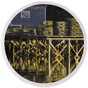 Port Clyde Pier On The Coast Of Maine Round Beach Towel