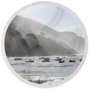 Port In Sestri Levante Round Beach Towel
