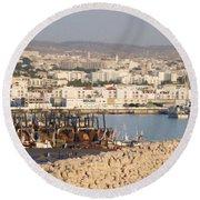 Port Of Agadir Morocco Round Beach Towel