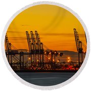 Port Of Felixstowe Round Beach Towel by Svetlana Sewell