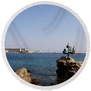 Port Of The Myloi And Dolphins - Rhodos Citys Round Beach Towel