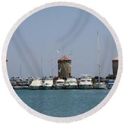 Port Of The Myloi - Rhodos City Round Beach Towel