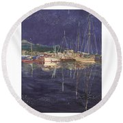 Stary  Port Orchard Night Round Beach Towel