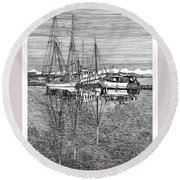 Reflections Of Port Orchard Washington Round Beach Towel