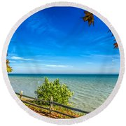 Port Sanilac Scenic Turnout Round Beach Towel