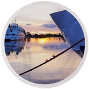 Port Sunrise Round Beach Towel
