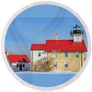 Port Washington Light Station  Round Beach Towel