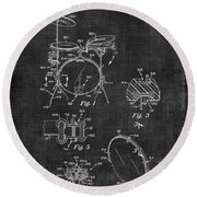 Portable Drum Set Patent 037 Round Beach Towel