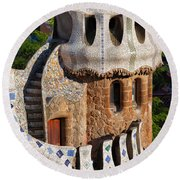 Porter's Lodge Pavilion In Park Guell Round Beach Towel