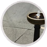 Portland Drinking Water Fountain Round Beach Towel