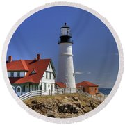Portland Head Light Round Beach Towel by Joann Vitali