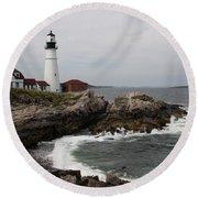 Portland Head Light - M E Round Beach Towel