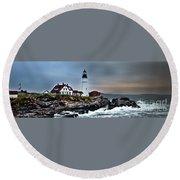 Portland Head Lighthouse 1 Round Beach Towel