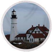 Portland Head Lighthouse 8529 Round Beach Towel