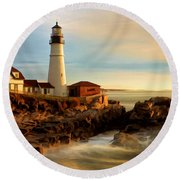 Portland Head Lighthouse At Dawn Round Beach Towel