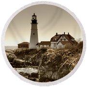 Portland Head Lighthouse Round Beach Towel by Joann Vitali