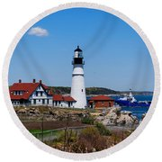 Portland Head Lighthouse Round Beach Towel