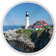 Portland Lighthouse 2 Round Beach Towel
