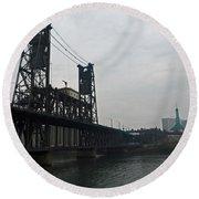 Portland Oregon Steel Bridge Round Beach Towel