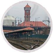 Portland Oregon Union Station Train Station Round Beach Towel