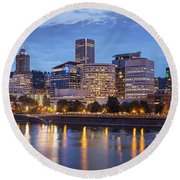Portland Skyline Pm2 Round Beach Towel