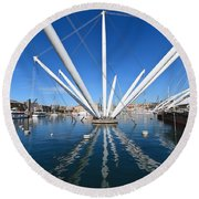Porto Antico In Genova Round Beach Towel