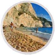 Porto Katsiki Beach In Lefkada Island Round Beach Towel
