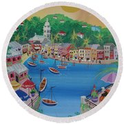 Portofino, Italy, 2012 Acrylic On Canvas Round Beach Towel
