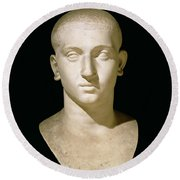 Portrait Bust Of Emperor Severus Alexander Round Beach Towel by Anonymous