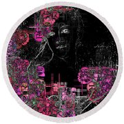Portrait In Black - S01-02b Round Beach Towel by Variance Collections