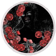 Portrait In Black - S0201b Round Beach Towel by Variance Collections