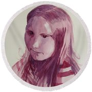 Portrait In Burgundy  Round Beach Towel