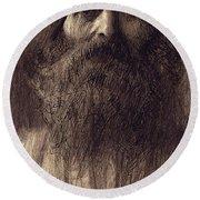 Portrait Of A Bearded Man Round Beach Towel