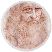 Portrait Of A Bearded Man Round Beach Towel by Leonardo da Vinci