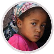 Portrait Of A Berber Girl Round Beach Towel by Ralph A  Ledergerber-Photography