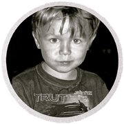 Portrait Of A Boy Round Beach Towel