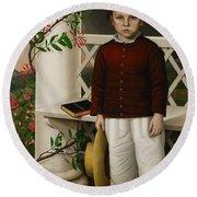 Portrait Of A Boy Round Beach Towel by James B Read