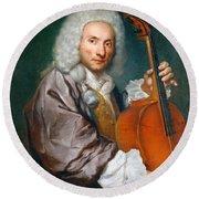 Portrait Of A Cellist Round Beach Towel