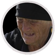 Portrait Of A Fishermans Wife Round Beach Towel