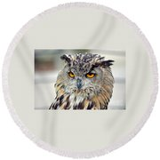 Portrait Of A Great Horned Owl II Round Beach Towel
