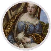 Portrait Of A Lady As Saint Agnes Round Beach Towel