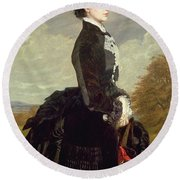 Portrait Of A Lady In Black With A Dog Round Beach Towel