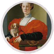 Portrait Of A Lady With A Lapdog Round Beach Towel