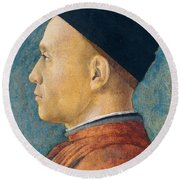 Portrait Of A Man Round Beach Towel by Andrea Mantegna