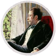 Portrait Of A Man Round Beach Towel