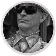 Portrait Of A Mime In Jackson Square Round Beach Towel